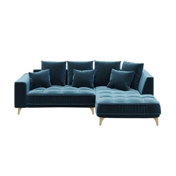 Tmavě modrá třímístná pohovka devichy Chloe, pravý roh