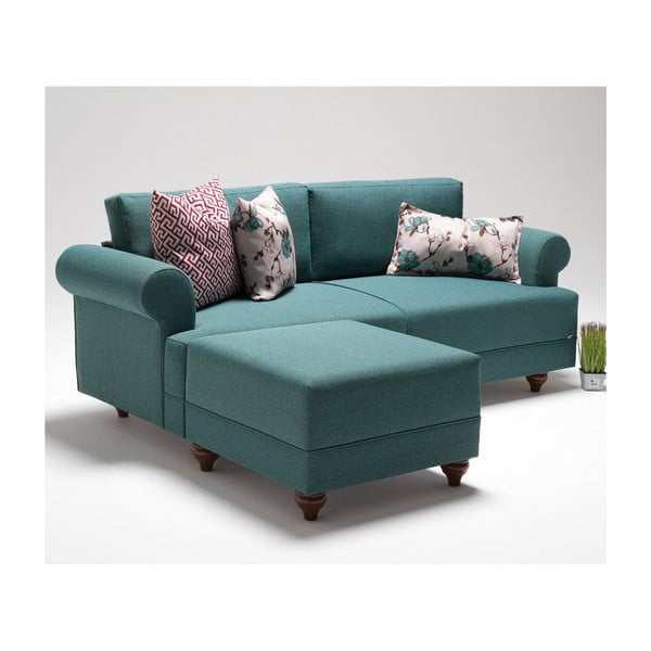 Home Gloria türkiz kanapé lábtartóval - Balcab