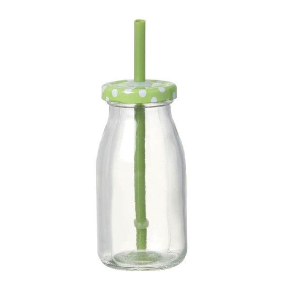 Skleněná lahev s brčkem Bottle Green