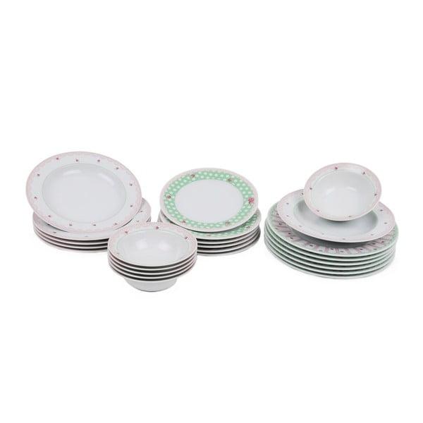 24-częściowy zestaw talerzy porcelanowych Kutahya Durita