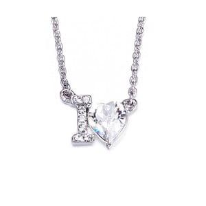 Náhrdelník s bílými krystaly Swarovski Elements Crystals I Love You