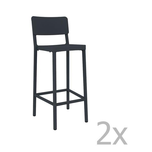 Sada 2 tmavosivých barových stoličiek vhodných do exteriéru Resol Lisboa, výška 102,2 cm