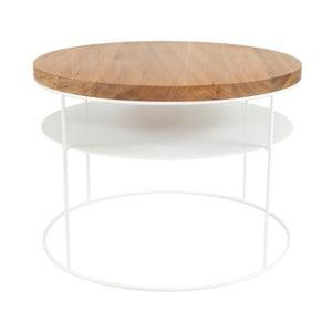 Bílý konferenční stolek s deskou z dubového dřeva Take Me HOME Nysa, ⌀60cm