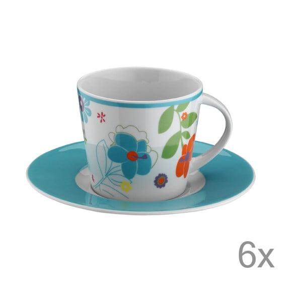 Sada hrníčků na čaj Modré květiny, 6 ks