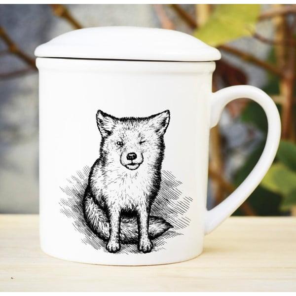 Porcelánový hrnek s víčkem a sítkem Little Fox, 300 ml