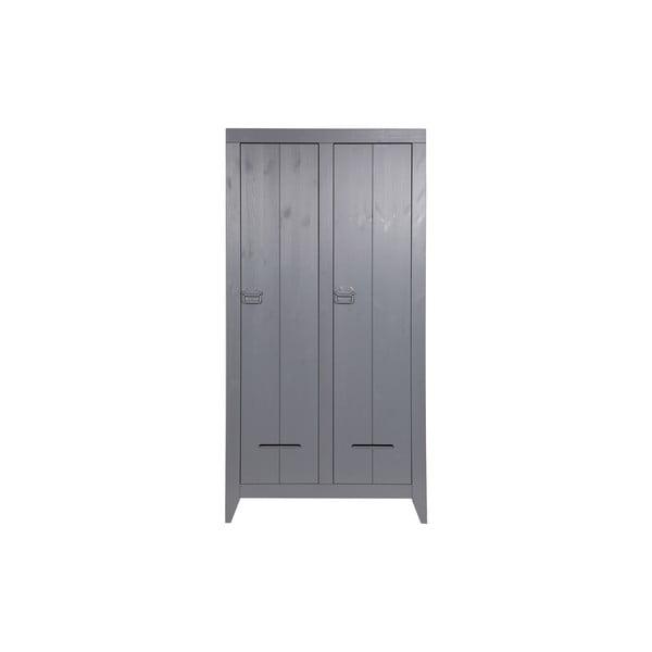 Șifonier cu 2 uși WOOOD Kluis, gri oțel