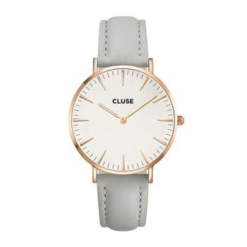 Ceas damă, curea din piele Cluse La Bohéme, gri-roz-auriu