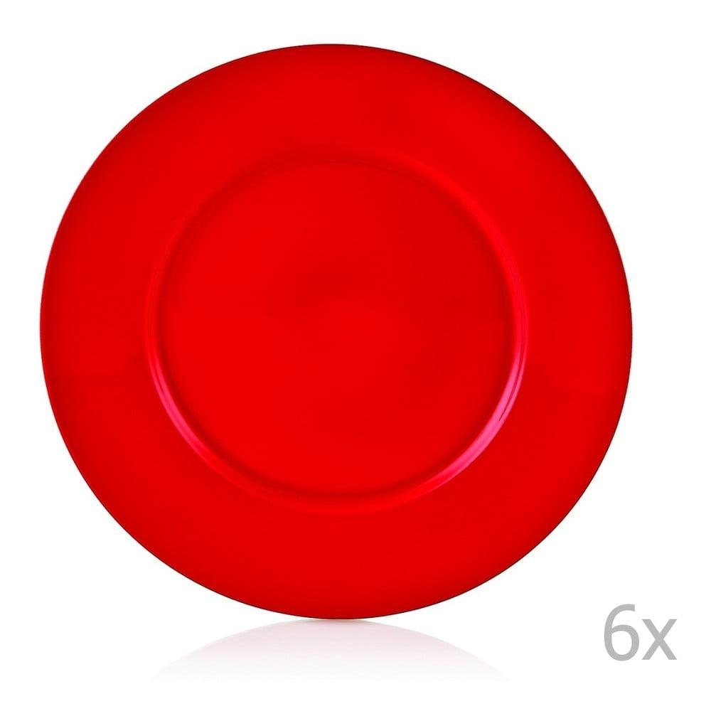 Sada 6 červených porcelánových talířů Efrasia