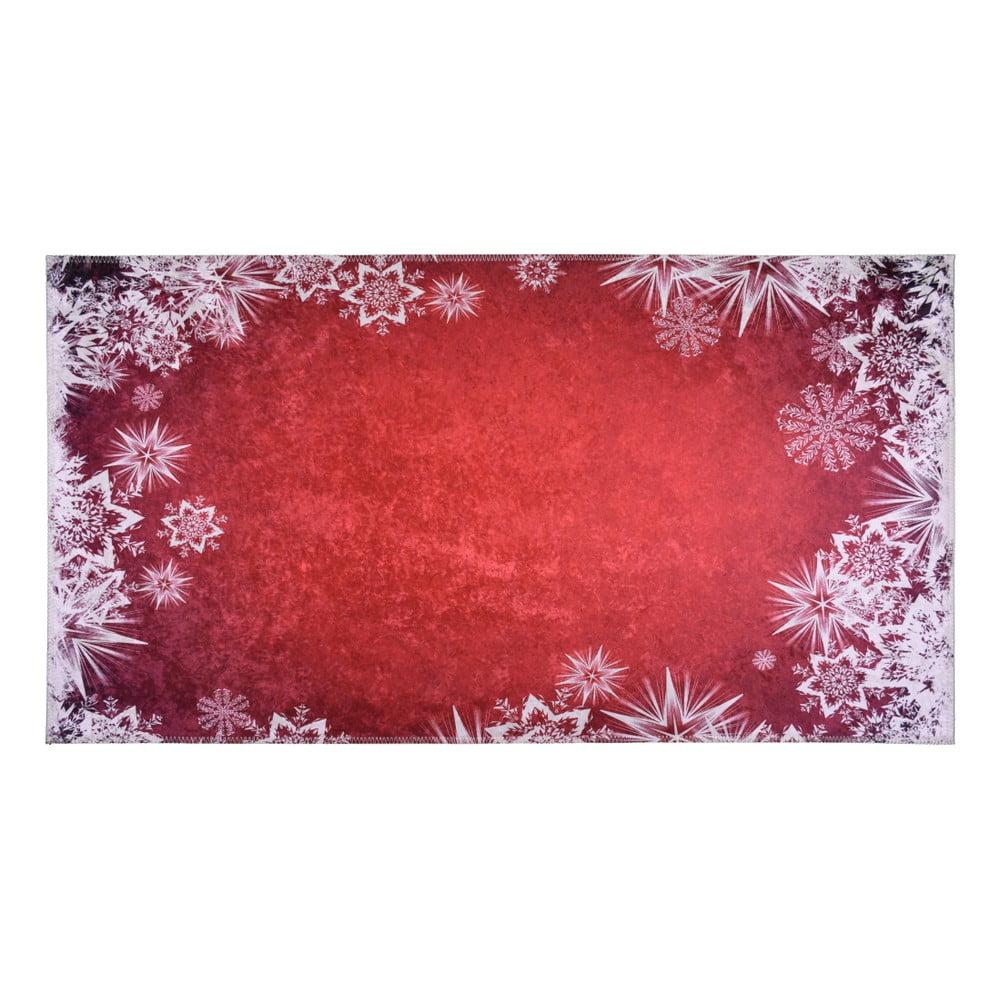 Červeno-bílý koberec Vitaus Snowflakes, 120 x 160 cm