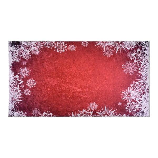 Covor Vitaus Snowflakes, 80 x 150 cm, alb-roșu