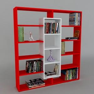 Knihovna Ample Red/White, 22x125x135,7 cm
