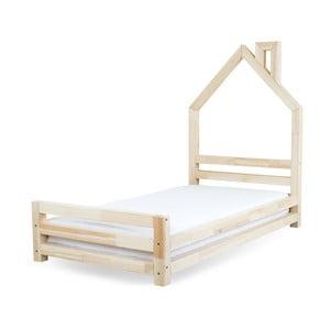 Pat pentru copii din lemn de pin lăcuit Benlemi Wally, 80 x 160 cm