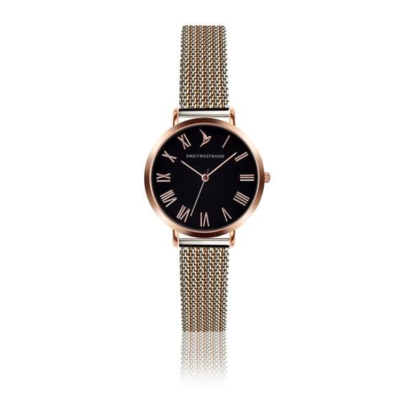 Zegarek damski z paskiem ze stali nierdzewnej w różowozłotym kolorze Emily Westwood Calina