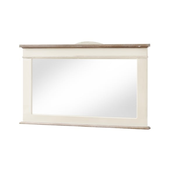 Zrkadlo v krémovobielom ráme z topoľového dreva Livin Hill Rimini, výška 57cm