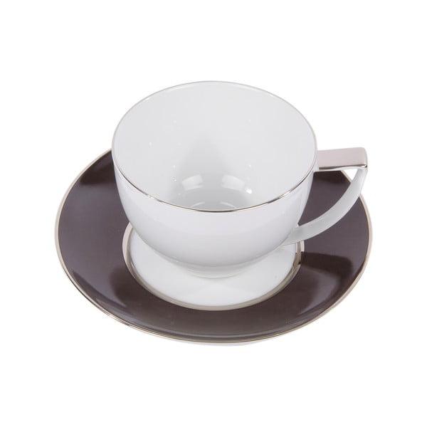 Sada 6 hrnků na čaj s podšálkem Ramponi Caffe Gray