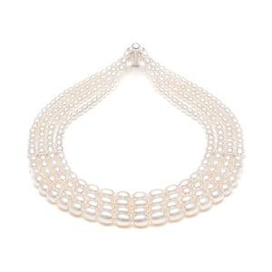 Náhrdelník z říčních perel GemSeller Viride, bílé perly