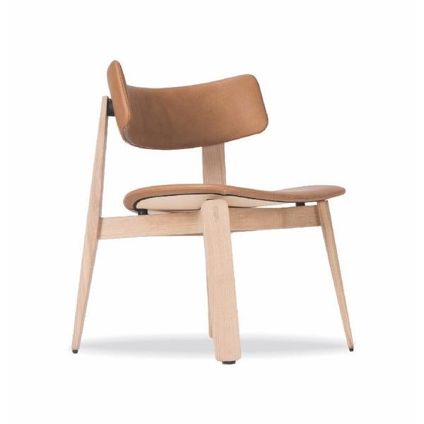 Scaun din lemn de stejar Gazzda Nora, șezut piele