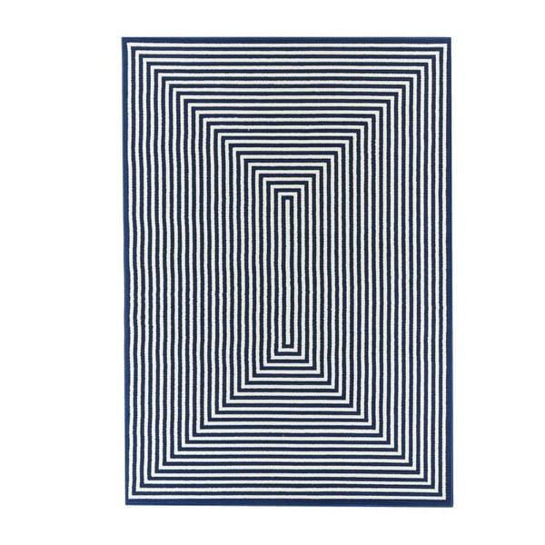 Tmavě modrý venkovní koberec Floorita Braid, 160 x 230 cm