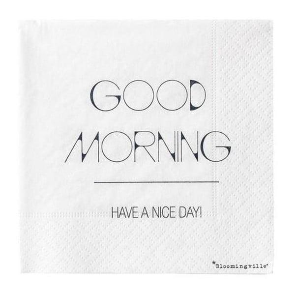 Sada 20 papírových ubrousků Bloomingville Good Morning, 25 x 25 cm