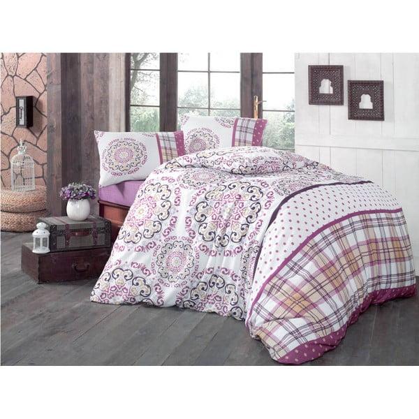 Lenjerie de pat din bumbac cu cearșaf și fețe de pernă Asya, 200 x 220 cm