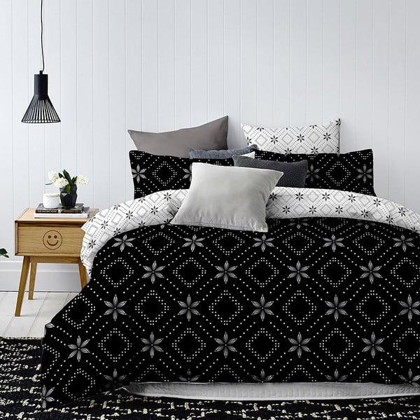 Czarno-biała dwustronna pościel jednoosobowa z mikrowłókna DecoKing Hypnosis Snowy Night, 220x155 cm