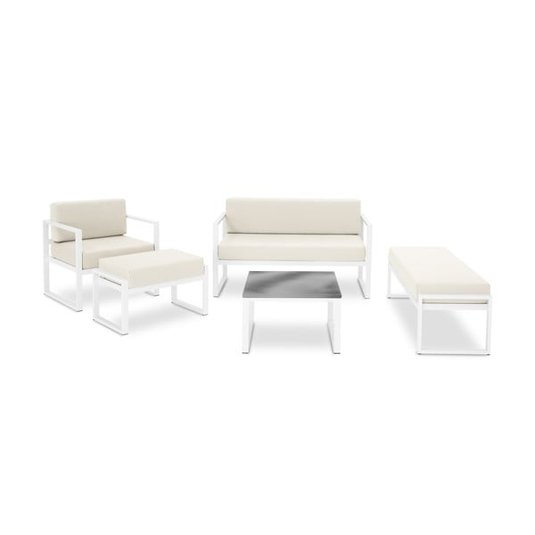 Set záhradného nábytku pre 6 osôb v béžovej farbe a v bielom ráme Calme Jardin Nicea