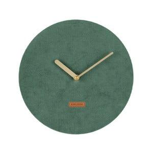 Tmavě zelené nástěnné hodiny s manšestrem Karlsson Corduroy, ⌀25 cm