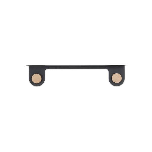 Nástěnná černá police z oceli s detailem z dubového dřeva se 2 háčky Gazzda Hook, délka60cm