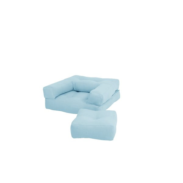 Mini Cube Light Blue kinyitható gyerekfotel zsámollyal - Karup Design