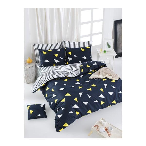 Lenjerie de pat cu cearșaf din bumbac ranforce, pentru pat dublu Mijolnir Lexa Dark Blue, 200 x 220 cm