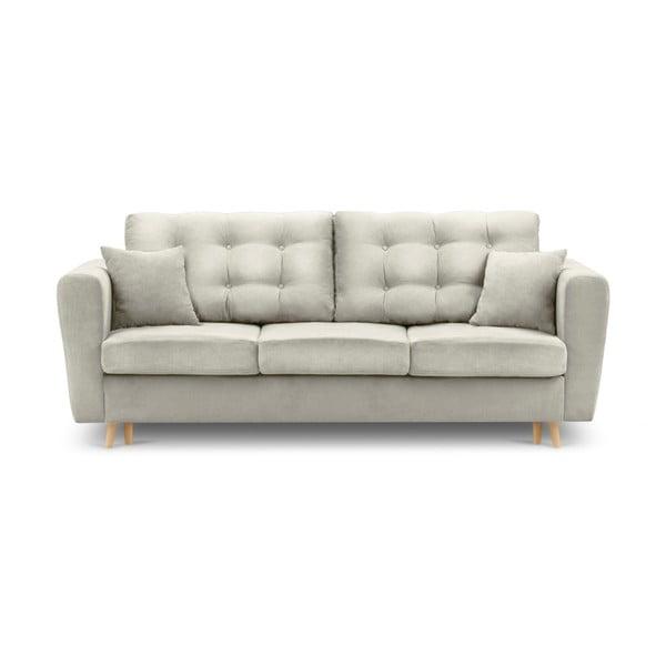 Jasnobeżowa rozkładana sofa ze schowkiem Kooko Home Highlife