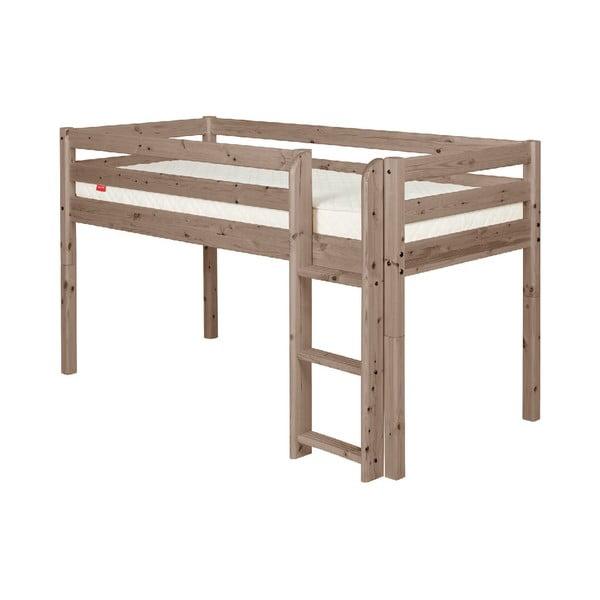 Hnědá středně vysoká dětská postel z borovicového dřeva Flexa Classic, 90x200cm