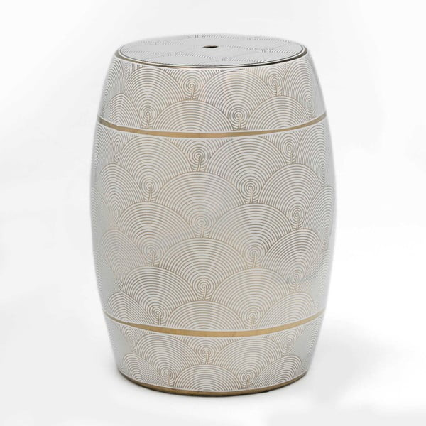 Taburet din ceramică Thai Natura Sisla, 33 x 43 cm, alb - auriu