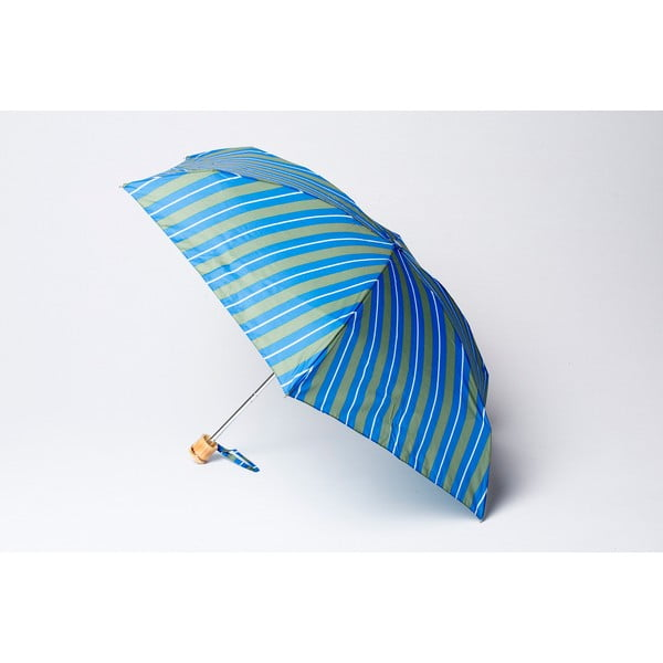 Skládací deštník Stripe, zeleno-modrý
