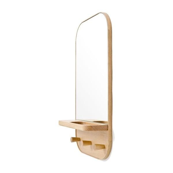Nástěnné zrcadlo s věšákem a úložnou poličkou z dubového dřeva Wireworks Butler, 41 x 73,5 cm
