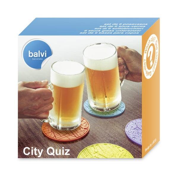 Sada 6 ks podtácků Balvi City Quiz