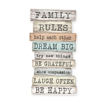 Semn de perete Little Nice Things Family Rules, 50 x 30 cm