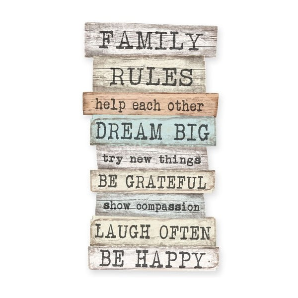 Little Nice Things Family Rules dekorációs tábla, 50 x 30 cm - Really Nice Things