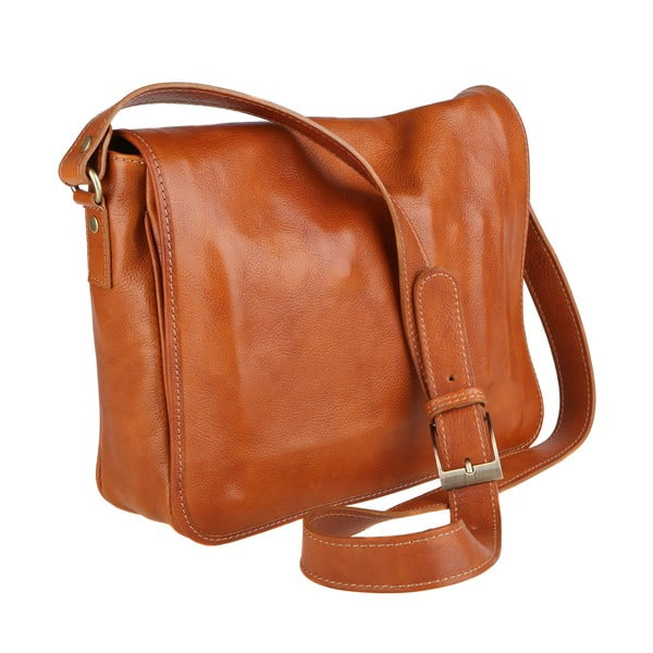 Koňakově hnědá kožená taška přes rameno Chicca Borse Norma