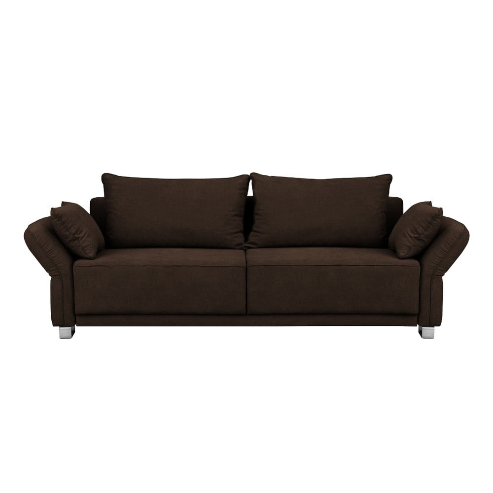 Hnědá trojmístná rozkládací pohovka s úložným prostorem Windsor & Co Sofas Casiopeia