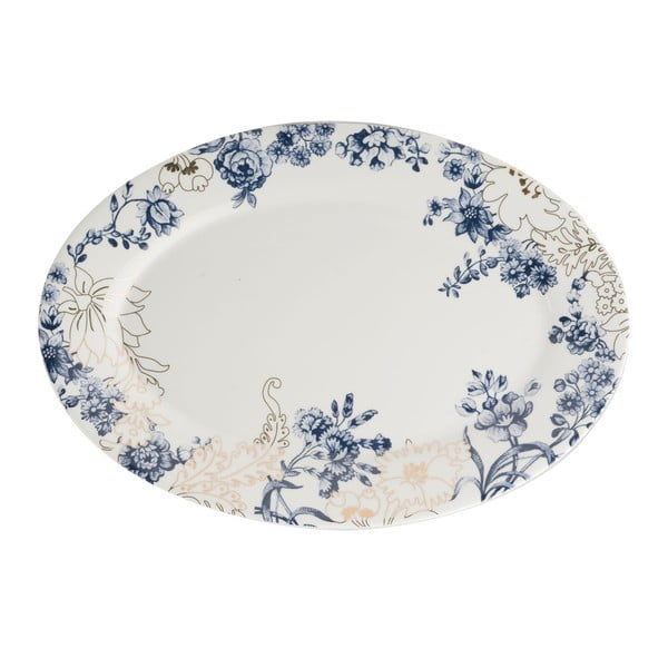 Porcelánový servírovací talíř s modro-zlatými vzory Creative Tops, Ø34 cm
