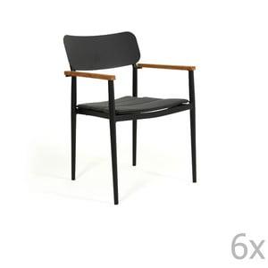 Sada 6 černých zahradních židlí Brafab Domingo, výška 83cm