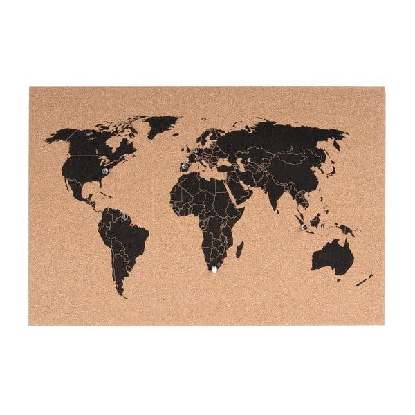 Korková nástěnná mapa PT LIVING World, 60x40cm