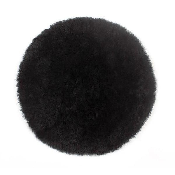 Podsedák z ovčí kožešiny Black, 35 cm