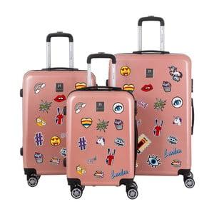 Set 3 trolere cu roți și un set de stickere Berenice Stickers, roz prăfuit