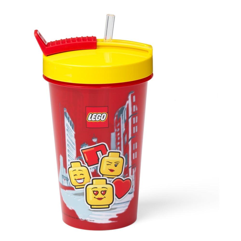 Červený kelímek se žlutým víčkem a brčkem LEGO® Iconic, 500 ml