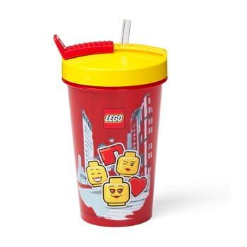 Pahar cu capac galben și pai LEGO® Iconic, 500 ml, roşu