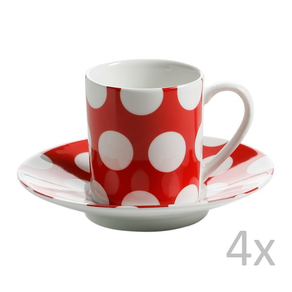 Set 4 căni cu farfurie Maxwell & Williams Polka Dot, roșu
