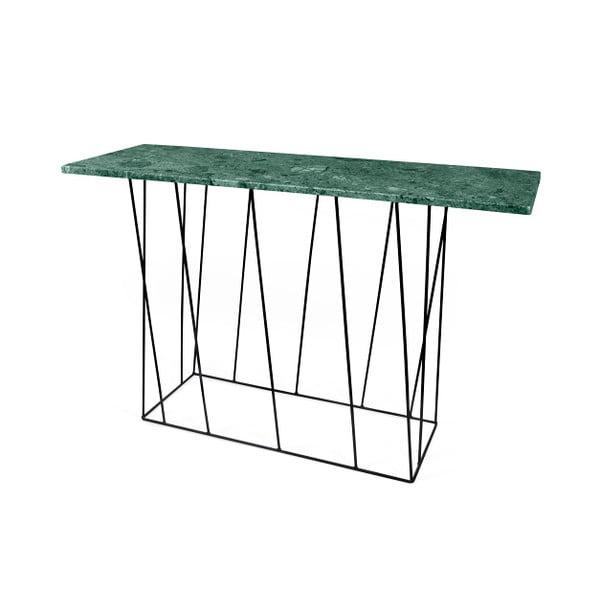 Zelený mramorový konzolový stolek s černými nohami TemaHome Helix