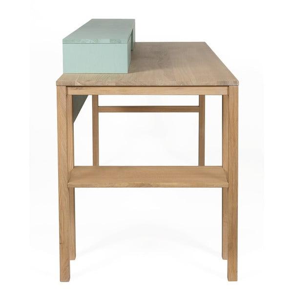 Pracovní stůl z borovicového a dubového dřeva se 2 zásuvkami Askala Sesi